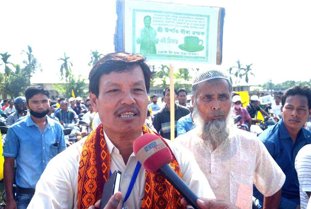 Urkhao Gwra Brahma independent candidate from Kokrajhar addresses press during an election campaign in Kokrajhar of Assam on April 21, 2014.