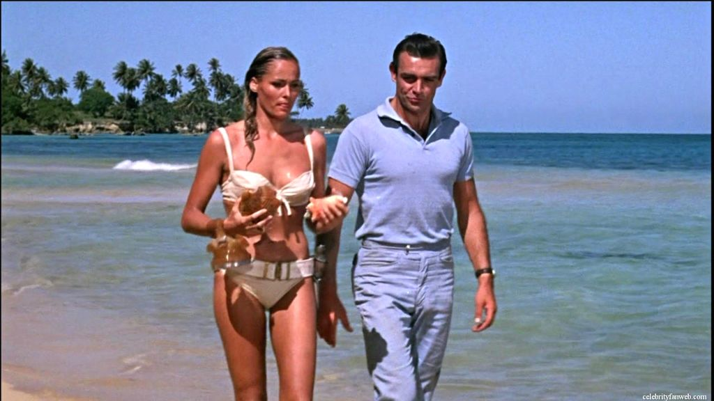 "Ursula Andress and Sean Connery in ""Dr No\"" - the sixth James Bond novel but the first to be filmed, and set entirely in the Caribbean"