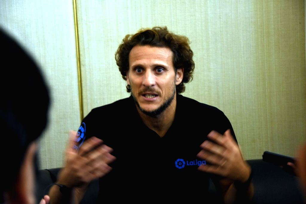 Uruguayan footballer and brand-ambassador of 'La Liga' Diego Forlan during a press conference in Mumbai on Oct 7, 2019.