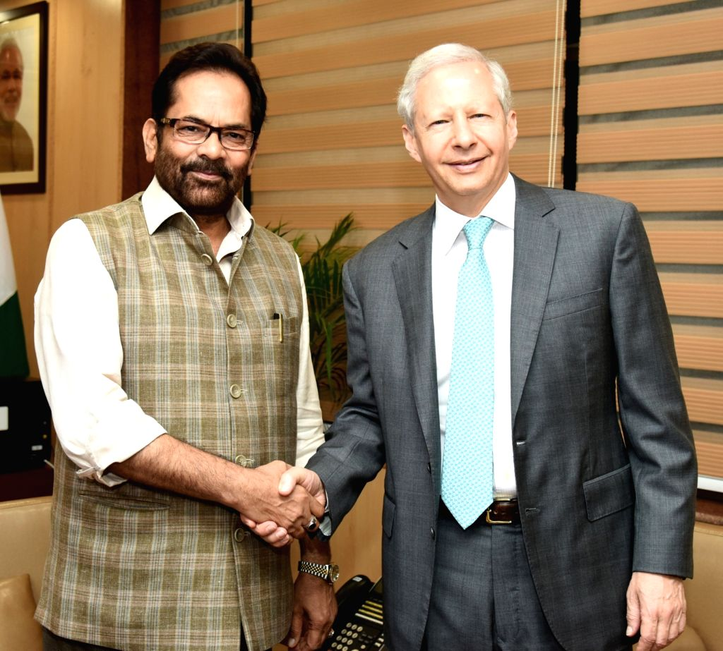 US Ambassador to India Kenneth I. Juster meets Union Minority Affairs Minister Mukhtar Abbas Naqvi, in New Delhi on July 24, 2018. - Mukhtar Abbas Naqvi
