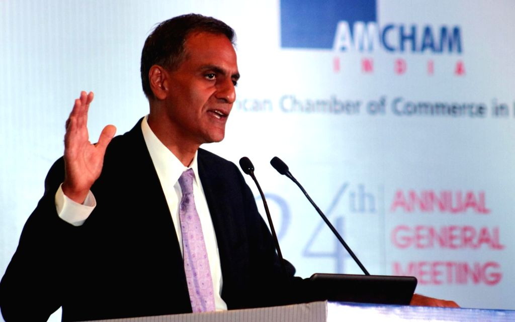 """US Ambassador to India Richard R Verma addresses durinng 24th AGM on """"Smart Infrastructure and Eco System - Foundation for Sustainable Growth"""" in New Delhi on April 22, 2016. - Richard R Verma"""