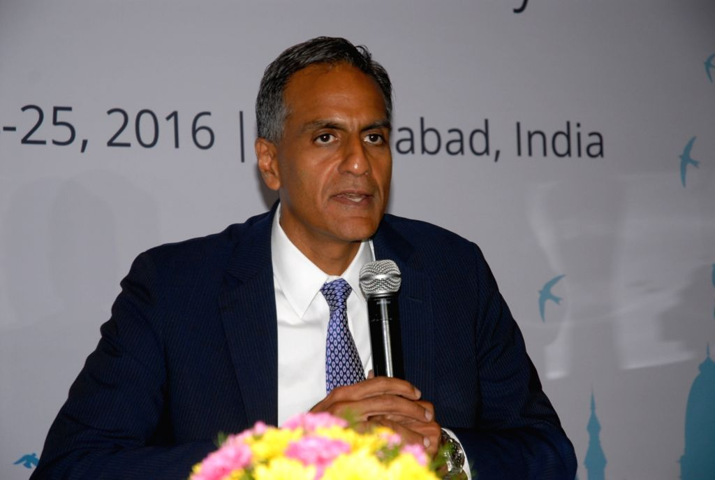 "US Ambassador to India Richard Verma addresses during a conference on ""The Future is Now: India"" in Hyderabad, on June 24, 2016. - Richard Verma"