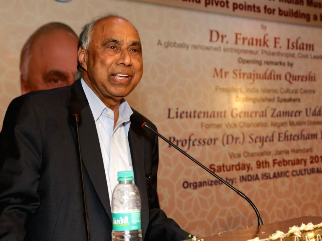 "US-based Muslim philanthropist Frank F. Islam addresses during a lecture on ""The Critical need to Empower Indian Muslims through Education and pivot points for building better ..."