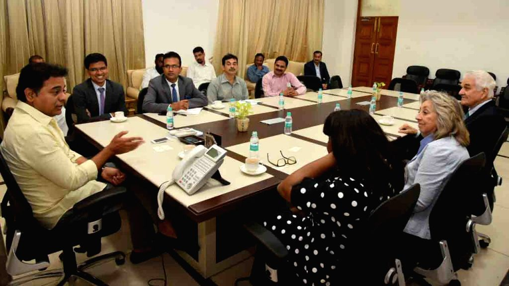 US Congresswomen Terri A Swell and Dina Titus during a meeting with Telangana IT and Industries Minister KT Rama Rao, in Hyderabad on April 3, 2018. - K and Rao