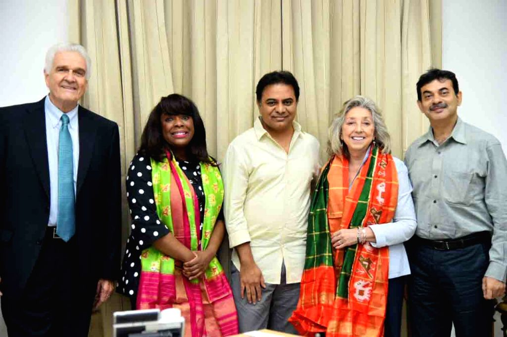 US Congresswomen Terri A Swell and Dina Titus with Telangana IT and Industries Minister KT Rama Rao during a meeting, in Hyderabad on April 3, 2018. - K and Rao