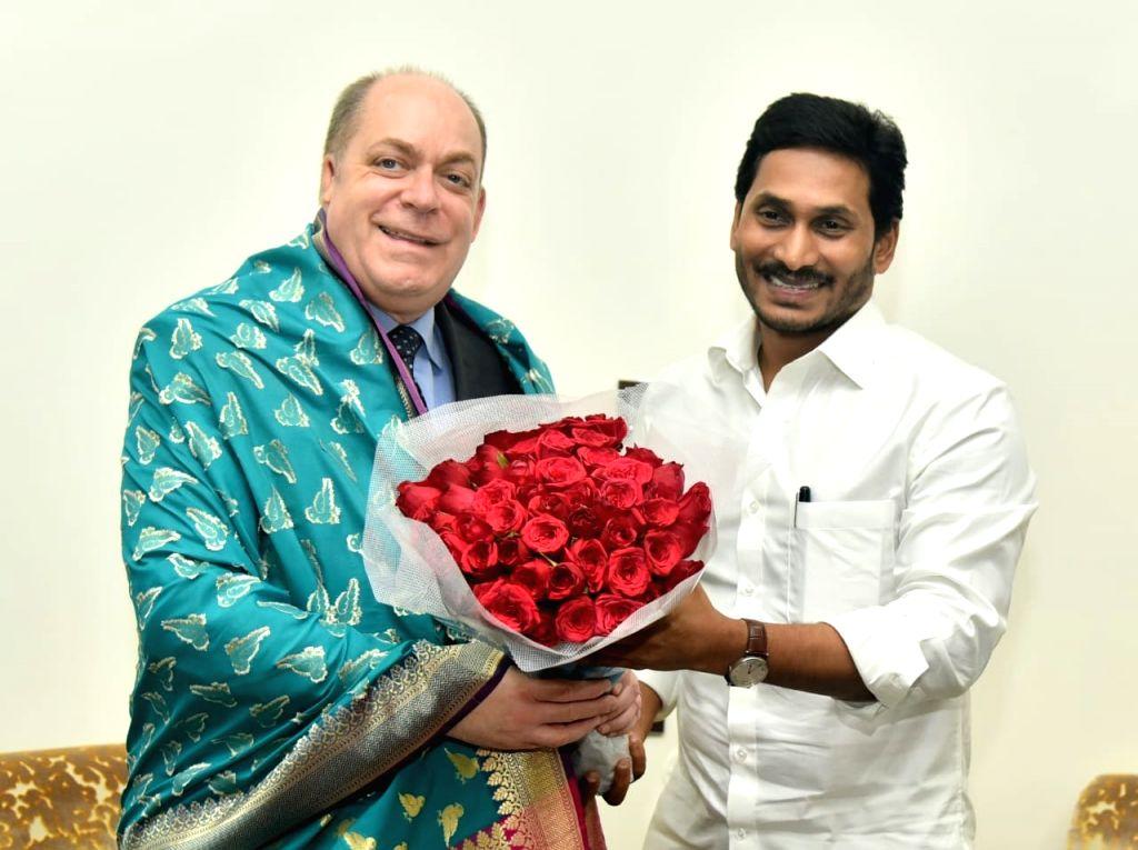 US Consul General in Hyderabad Joel Reifman calls on Andhra Pradesh Chief Minister YS Jagan Mohan Reddy in Vijayawada on Oct 16, 2019. - Jagan Mohan Reddy