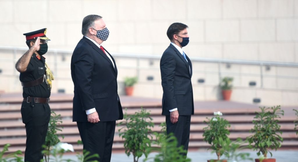 US Defence Secretary Dr. Mark T. Esper and US Secretary of State Mike Pompeo pay homage at the National War Memorial, in New Delhi on Oct 27, 2020.