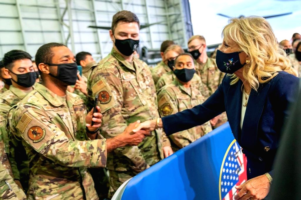 US First Lady Jill Biden at Royal Air Force Mildenhall base in the UK