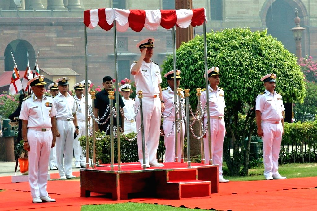 US Navy chief Admiral John Richardson receives the Guard of Honour, in New Delhi, on May 13, 2019.