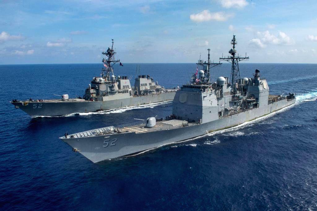 US Navy warships sailing through the South China Sea recently