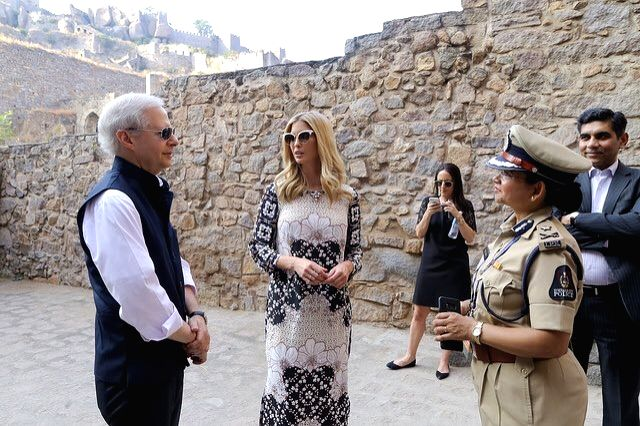US President Donald Trump's daughter and advisor Ivanka Trump and US Ambassador to India Kenneth Juster during their visit to the Golconda Fort in Hyderabad on Nov 29, 2017.