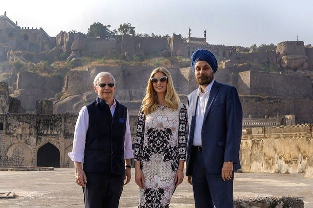 US President Donald Trump's daughter and advisor Ivanka Trump, US Ambassador to India Kenneth Juster and India's Ambassador to US Navtej Sarna during their visit to the Golconda Fort in ...