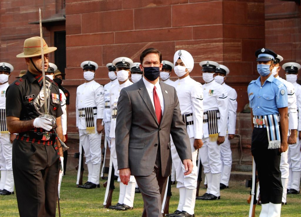 US Secretary of Defence, Dr Mark Esper inspects the Guard of Honor on his arrival at South Block ahead of their bilateral meeting in New Delhi on Oct 26, 2020.