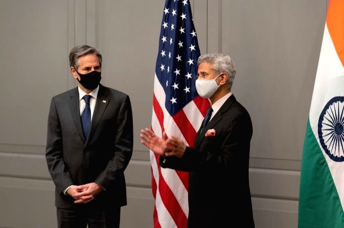 US Secretary of State Antony Blinken meets Indian External Affairs Minister S. Jaishankar in London.(pic credit:  twitter.com/SecBlinken) - S. Jaishankar