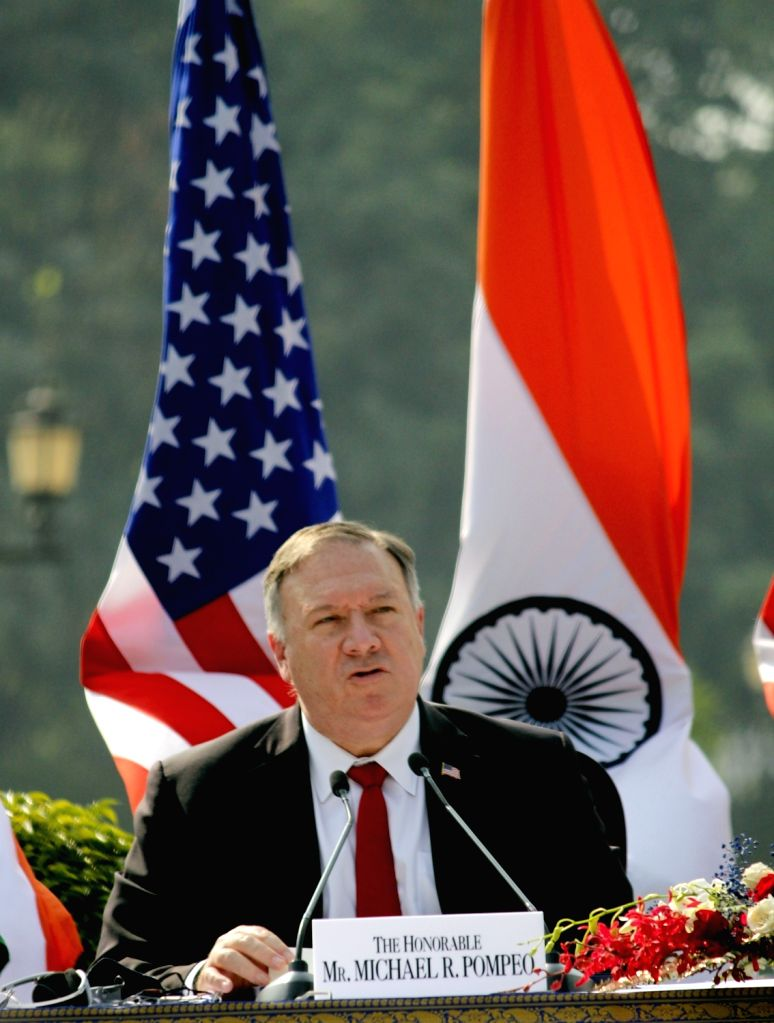 US Secretary of State Mike Pompe addresses the India-USA 2+2 Dialogue at Hyderabad House in New Delhi on Oct 27, 2020.