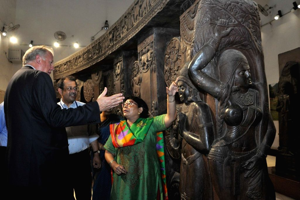 US Under Secretary of State for Political Affairs, Thomas Shanno with Curator Indian Museum Jayanta Sengupta, Consul General Craig Hall and other dignitaries visit Indian Museum in Kolkata ...