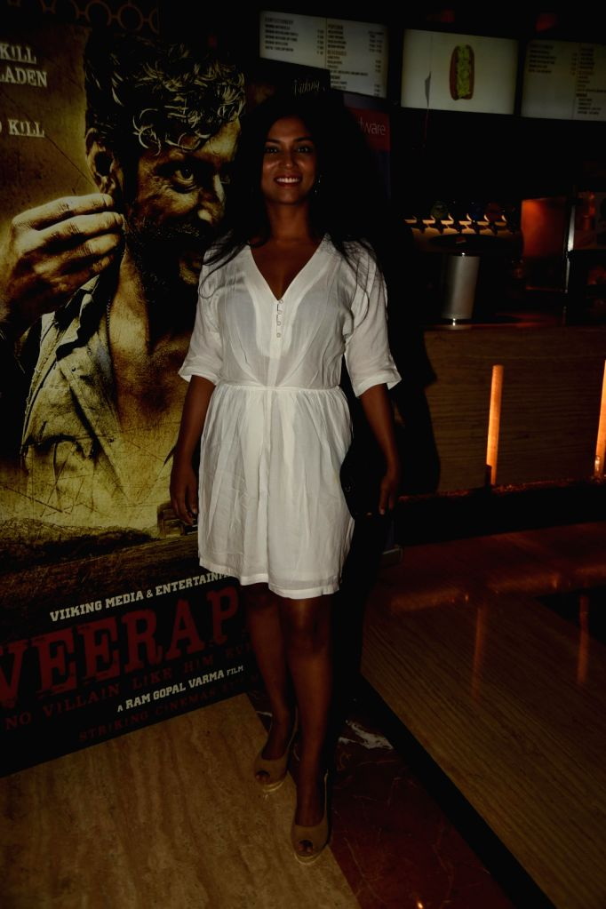 Usha Jadhav during the trailer launch of film Veerappan in Mumbai on April 18, 2016.