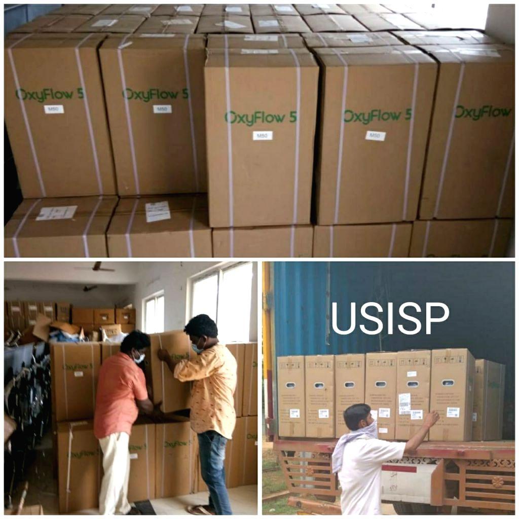 USISP donates 400 oxygen concentrators to Andhra Pradesh.