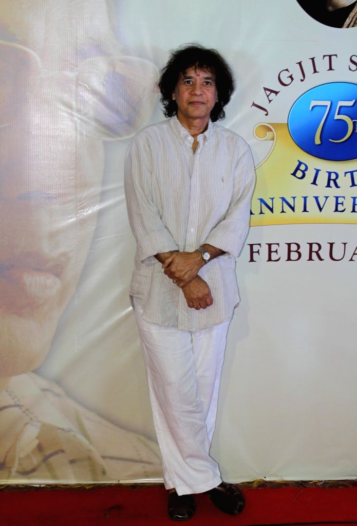 Ustad Zakir Hussain during a press conference to announce music festival to celebrate ghazal maestro Jagit Singh`s 75th Birth Anniversary in Mumbai on January 15, 2016.