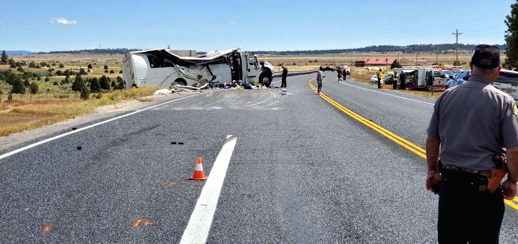 UTAH, Sept. 21, 2019 - Photo provided by Utah Highway Patrol (UHP) on Sept. 20, 2019 shows the bus crash scene near the Bryce Canyon National Park in Utah, the United States. At least four Chinese ...