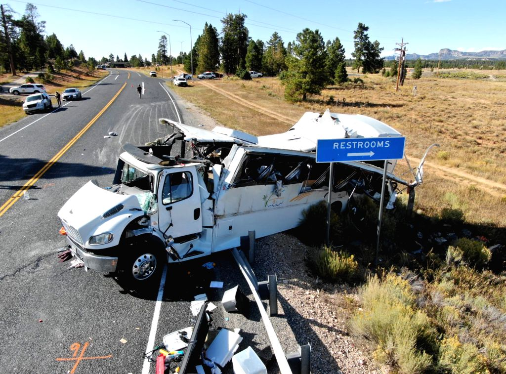 UTAH (U.S.), Sept. 20, 2019 Photo provided by Utah Highway Patrol on Sept. 20, 2019 shows the bus crash scene near the Bryce Canyon National Park in Utah, the United States. The Chinese ...