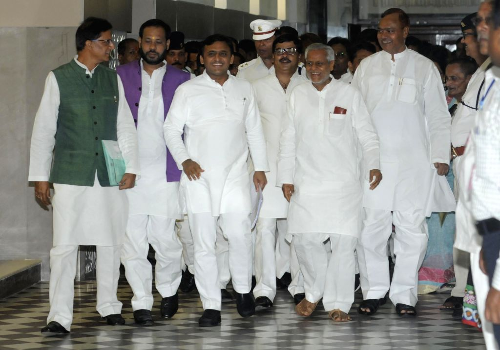 Uttar Pradesh Chief Minister Akhilesh Yadav arrives to attend the monsoon session of Uttar Pradesh Assembly in Lucknow, on Aug 14, 2015.