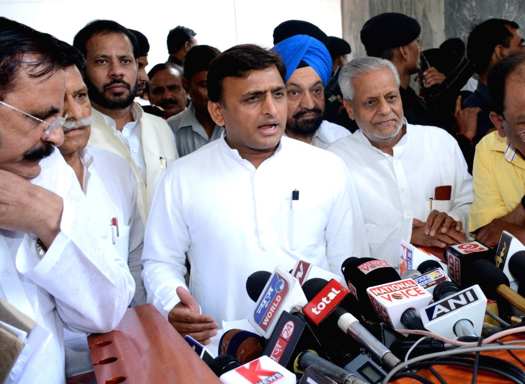 Uttar Pradesh Chief Minister Akhilesh Yadav talks to press after a cabinet meeting in Lucknow, on June 23, 2016. - Akhilesh Yadav