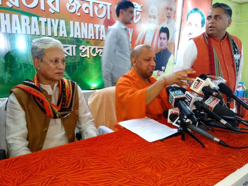 Uttar Pradesh Chief Minister and BJP leader Yogi Adityanath addresses a press conference in Agartala on Feb 13, 2018.