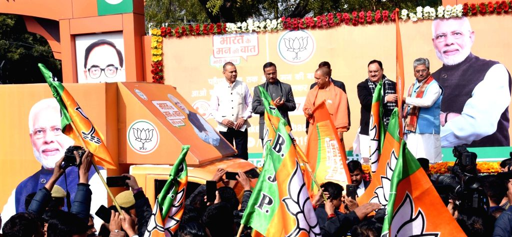 Uttar Pradesh Chief Minister and BJP leader Yogi Adityanath and Union Minister and party leader J.P. Nadda flag off 'Bharat Ke Mann Ki Baat' campaign vans, in Lucknow on Feb 4, 20129.