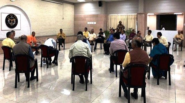 Uttar Pradesh Chief Minister Yogi Adityanath chairs meeting over COVID-19. - Yogi Adityanath