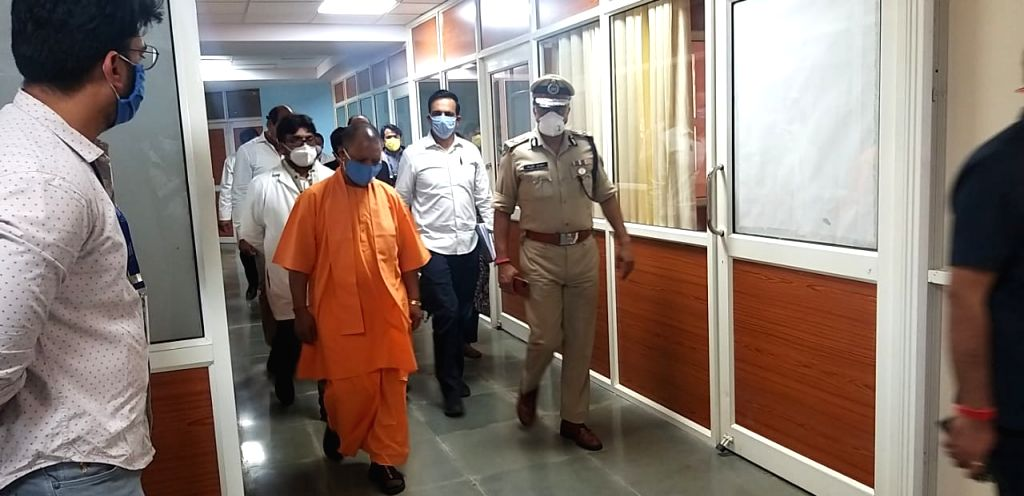 Uttar Pradesh Chief Minister Yogi Adityanath during his visit to Noida on Monday. - Yogi Adityanath