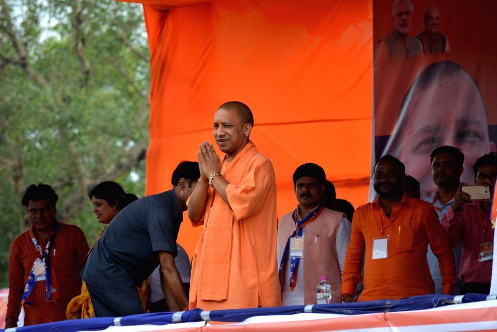 Uttar Pradesh Chief Minister Yogi Adityanath during a rally in Varanasi on July 2, 2017. - Yogi Adityanath