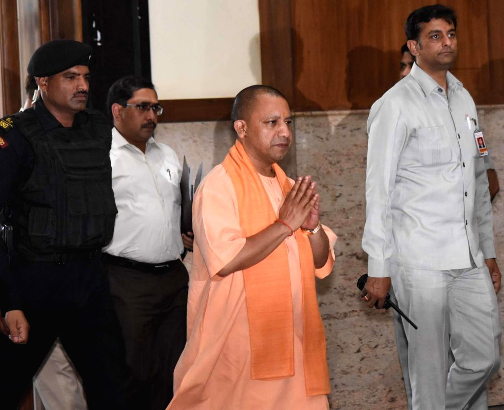 Uttar Pradesh Chief Minister Yogi Adityanath arrives to attend cabinet meeting at the state assembly in Lucknow on April 3, 2018. - Yogi Adityanath