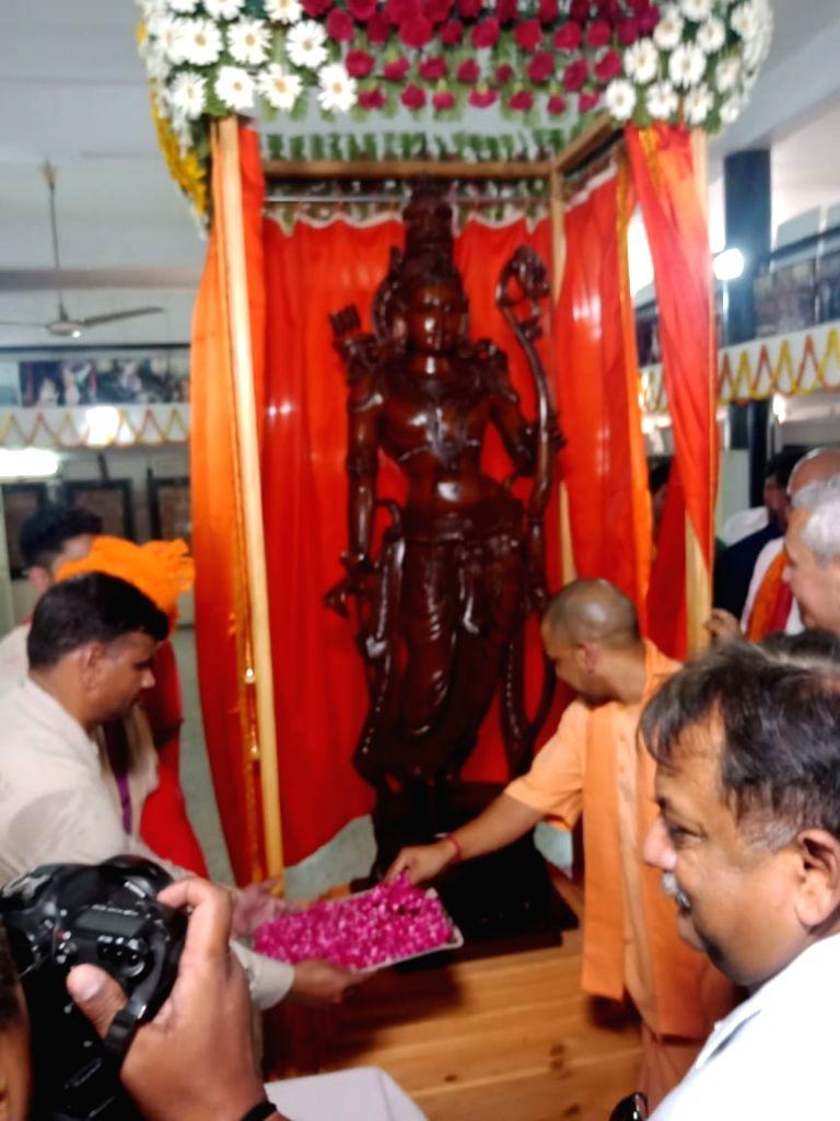 Uttar Pradesh Chief Minister Yogi Adityanath inaugurates a seven-foot tall statue of Lord Ram at the Shodh Sansthan museum, in Ayodhya on June 7, 2019. - Yogi Adityanath