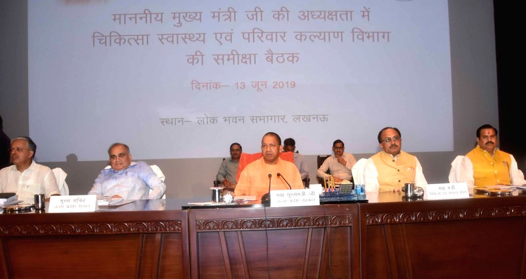 Uttar Pradesh Chief Minister Yogi Adityanath chairs a review meeting with the Department of Medical Health and Family Welfare, in Lucknow on June 13, 2019. - Yogi Adityanath