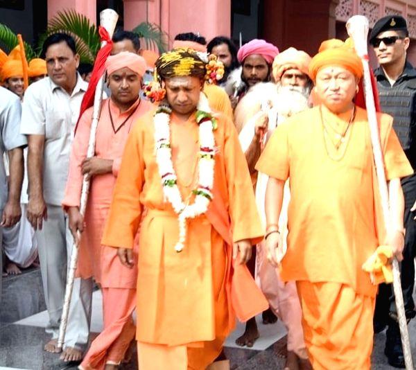 Uttar Pradesh Chief Minister Yogi Adityanath arrives to offer prayers on the occasion Vijayadashami at the Gorakhnath Temple in Gorakhpur, on Oct 8, 2019. - Yogi Adityanath