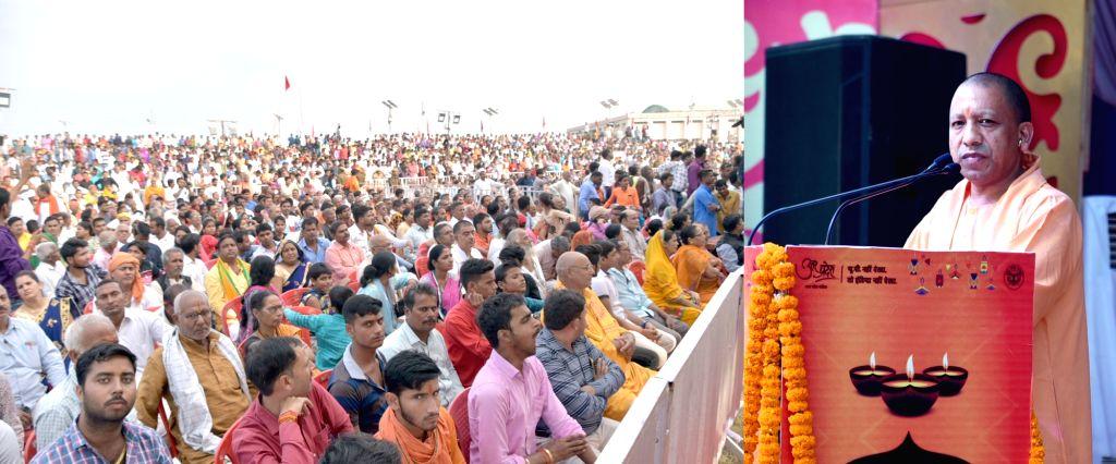 Uttar Pradesh Chief Minister Yogi Adityanath addresses during 'Deepotsav' in Ayodhya on Oct 26, 2019. - Yogi Adityanath