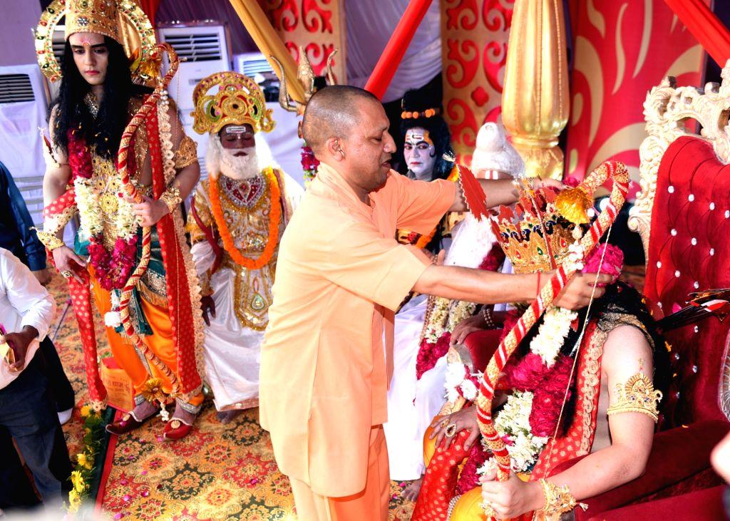 Uttar Pradesh Chief Minister Yogi Adityanath during 'Deepotsav' in Ayodhya on Oct 26, 2019. - Yogi Adityanath