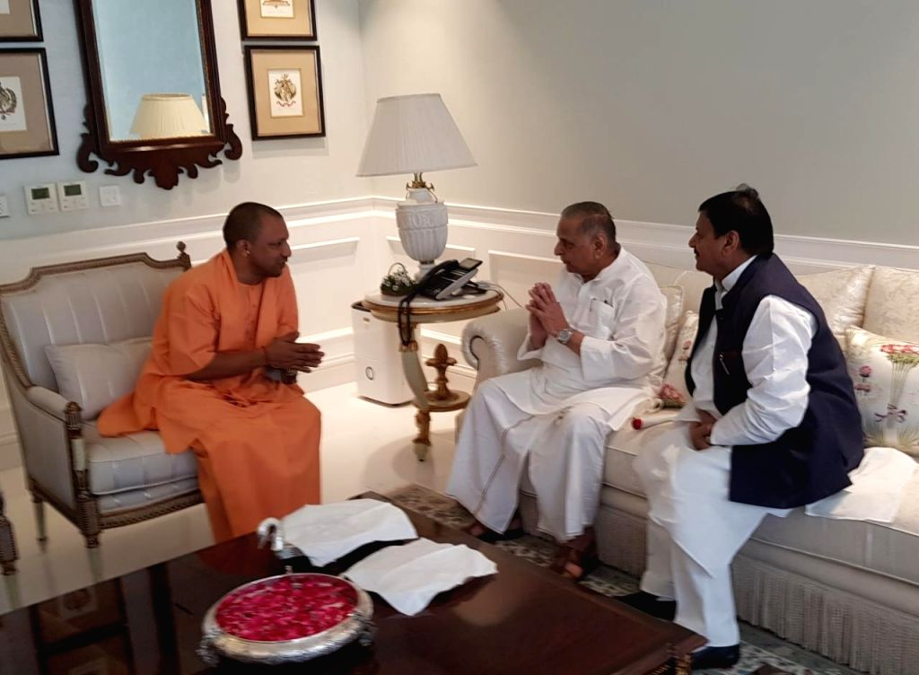 Up Cm Meets Mulayam Singh Yadav