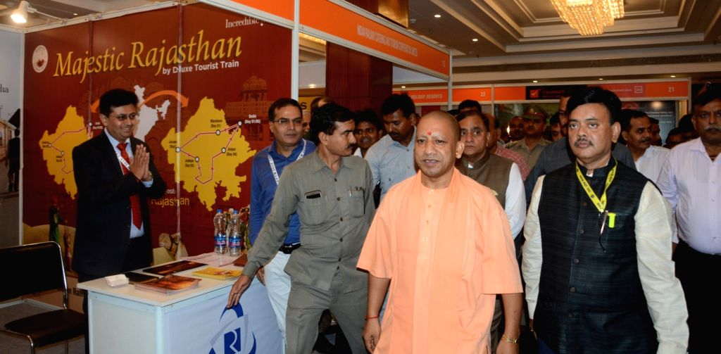Uttar Pradesh Chief Minister Yogi Adityanath at the inaugural ceremony of Uttar Pradesh Travel Mart 2019, in Lucknow on Aug 10, 2019. - Yogi Adityanath
