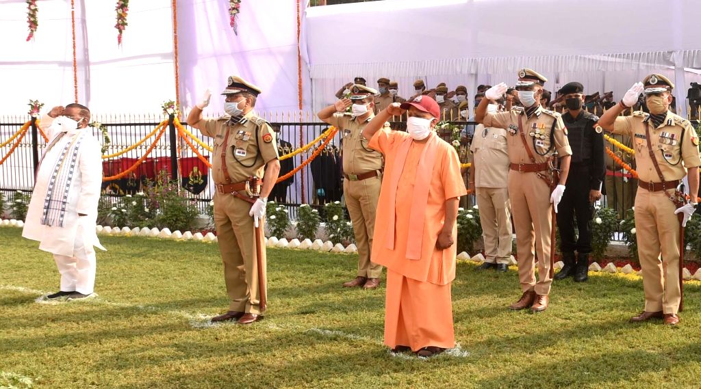 Uttar Pradesh Chief Minister Yogi Adityanath pays tributes to martyrs on Police Commemoration Day, in Lucknow on Oct 21, 2020. - Yogi Adityanath