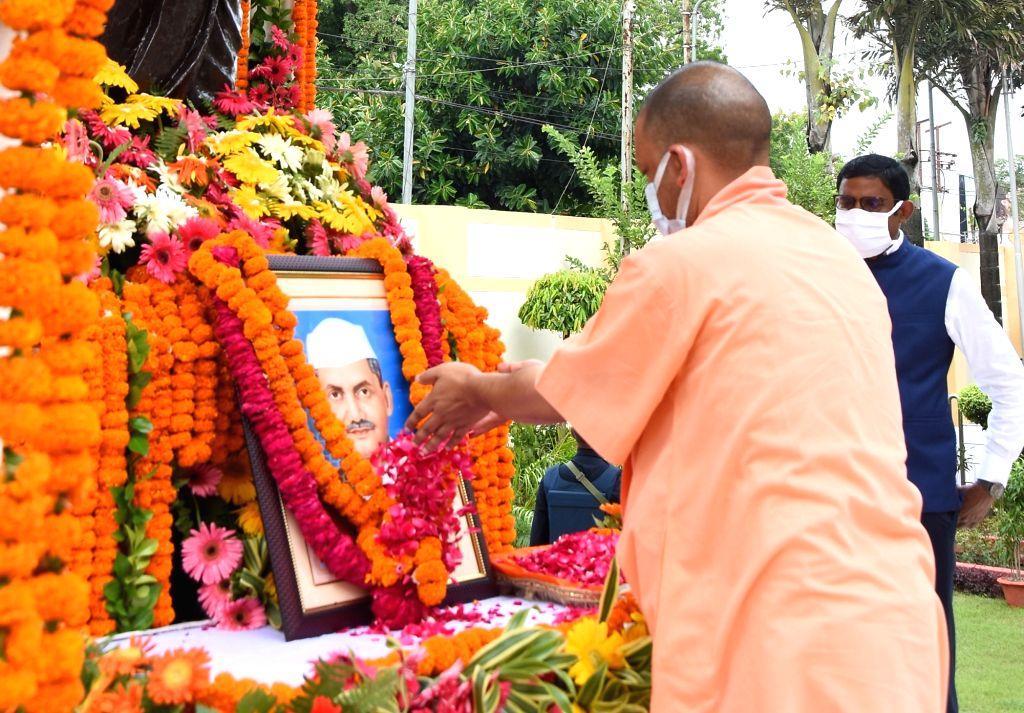 Uttar Pradesh Chief Minister Yogi Adityanath Pays tribute to Former Prime Minister Lal Bahadur Shastri on hi Birth Anniversary in Lucknow on Saturday October 02,2021 - Yogi Adityanath Pays