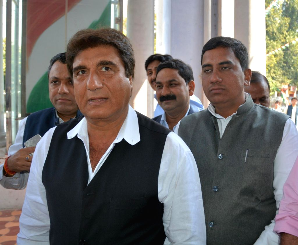 Uttar Pradesh Congress president Raj Babbar arrives at the party office in Lucknow on March 11, 2017.