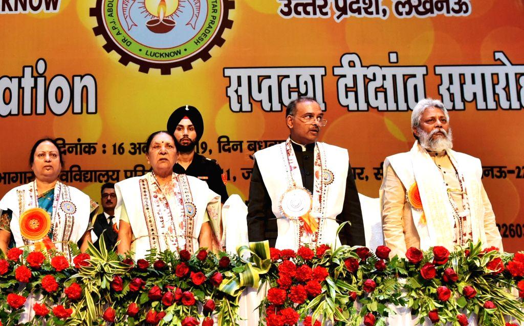Uttar Pradesh Governor Anandi Ben Patel, Water Minister Rajendra Singh, Technical Education Minister Kamalrani Varun, Vice Chancellor Vinay Pathak, attends the 17th convocation of Abdul Kalam ... - Rajendra Singh, Anandi Ben Patel and Chancellor Vinay Pathak