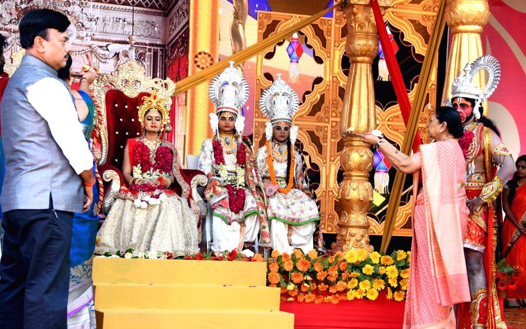 Uttar Pradesh Governor Anandiben Patel during 'Deepotsav' in Ayodhya on Oct 26, 2019. - Anandiben Patel