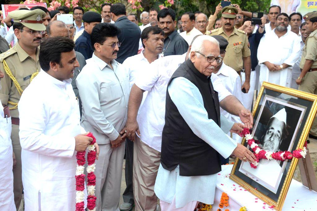 Uttar Pradesh Governor Ram Naik and Uttar Pradesh Chief Minister Akhilesh Yadav pay tribute to the first Chief Minister of Uttar Pradesh in Independent India Pandit Govind Ballabh Pant on his birth .. - Akhilesh Yadav