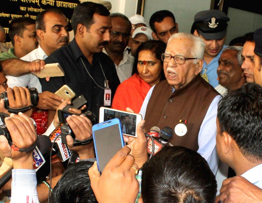 Uttar Pradesh Governor Ram Naik talks to press in Mathura on April 27, 2017.
