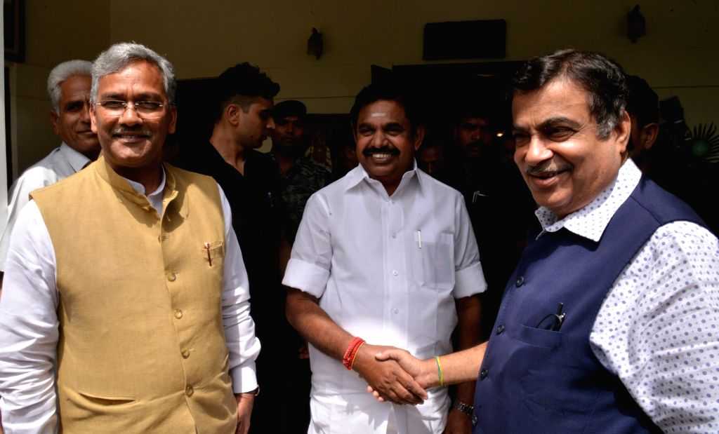 Uttarakhand Chief Minister Harish Rawat and Tamil Nadu Chief Minister Edappadi K. Palaniswami meet Union Minister for Road Transport and Highways and Micro, Small and Medium Enterprises ... - Harish Rawat