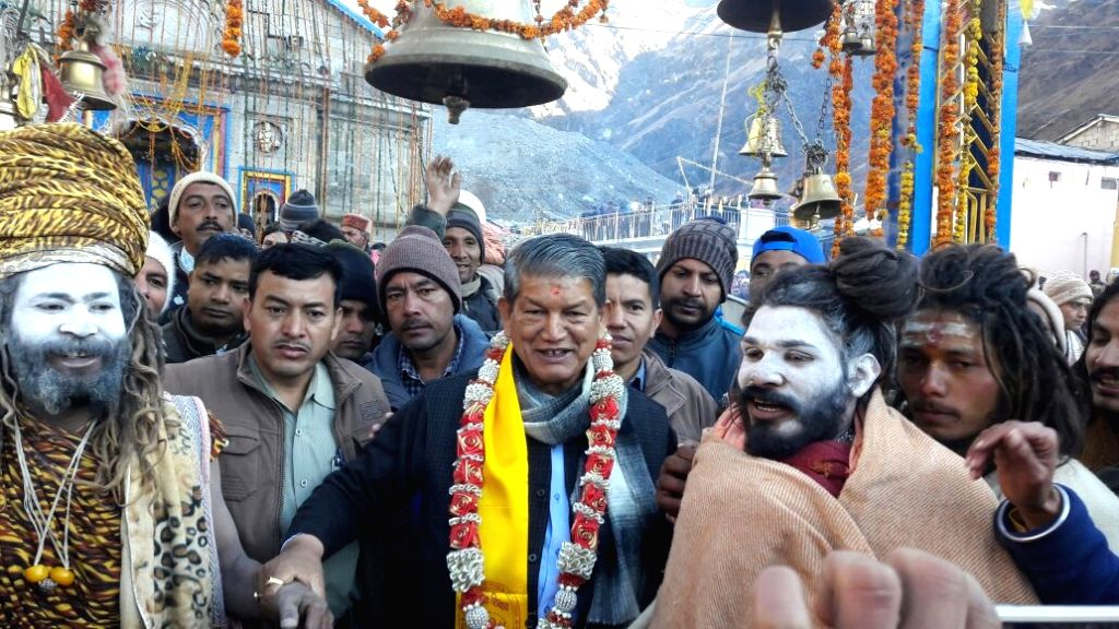 Uttarakhand Chief Minister Harish Rawat visits Kedarnath as the portals of the temple closed for devotees in Rudraprayag of Uttarakhand on Nov 1, 2016. - Harish Rawat