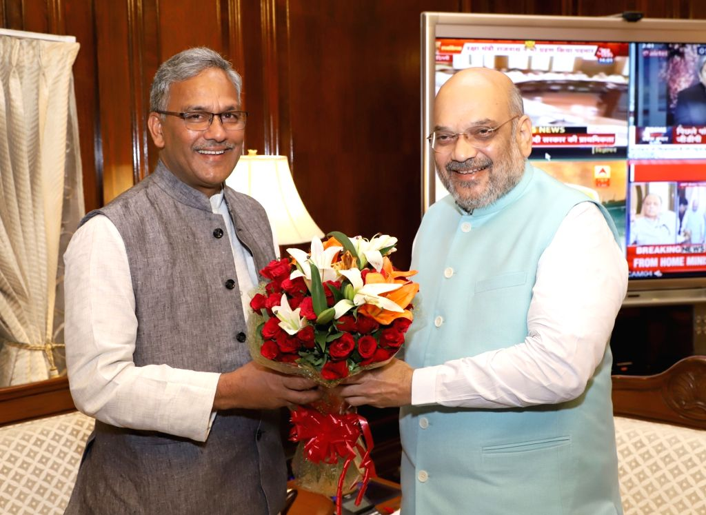 Uttarakhand Chief Minister Trivendra Singh Rawat calls on Union Home Minister Amit Shah in New Delhi on June 1, 2019. - Trivendra Singh Rawat and Amit Shah